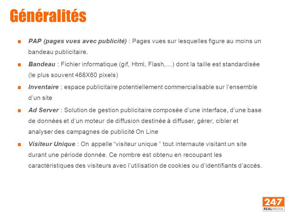 Généralités ■PAP (pages vues avec publicité) : Pages vues sur lesquelles figure au moins un bandeau publicitaire. ■Bandeau : Fichier informatique (gif
