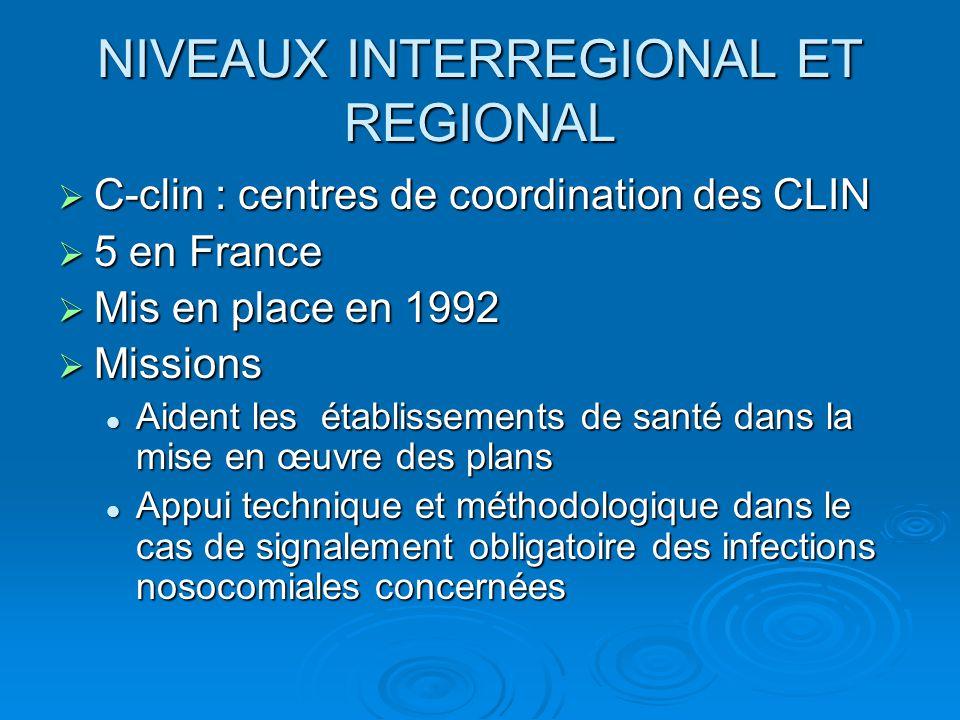 NIVEAUX INTERREGIONAL ET REGIONAL  C-clin : centres de coordination des CLIN  5 en France  Mis en place en 1992  Missions Aident les établissement