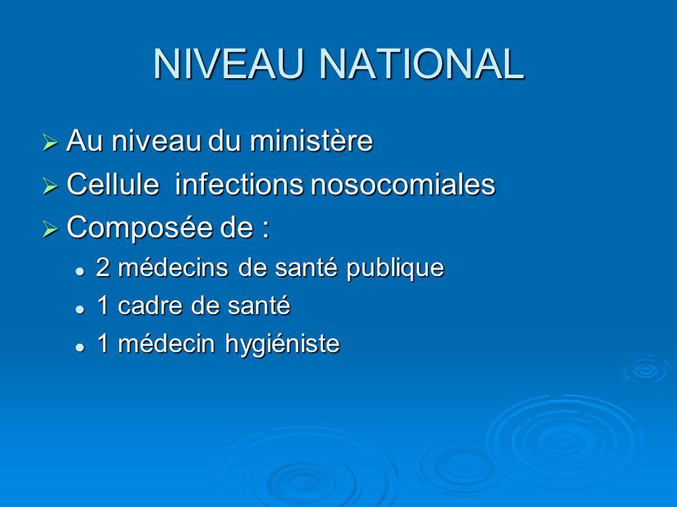 NIVEAU NATIONAL  Au niveau du ministère  Cellule infections nosocomiales  Composée de : 2 médecins de santé publique 2 médecins de santé publique 1