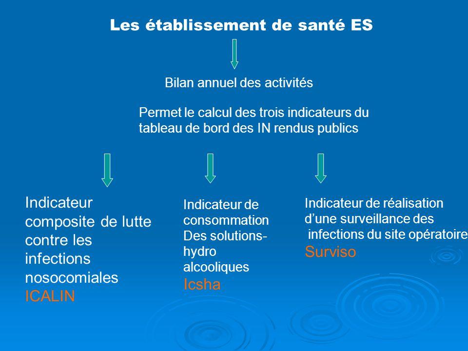 Les établissement de santé ES Bilan annuel des activités Permet le calcul des trois indicateurs du tableau de bord des IN rendus publics Indicateur co