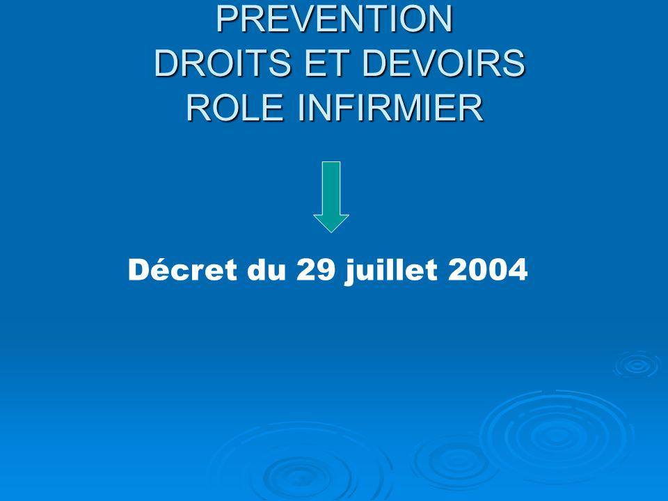 PREVENTION DROITS ET DEVOIRS ROLE INFIRMIER Décret du 29 juillet 2004