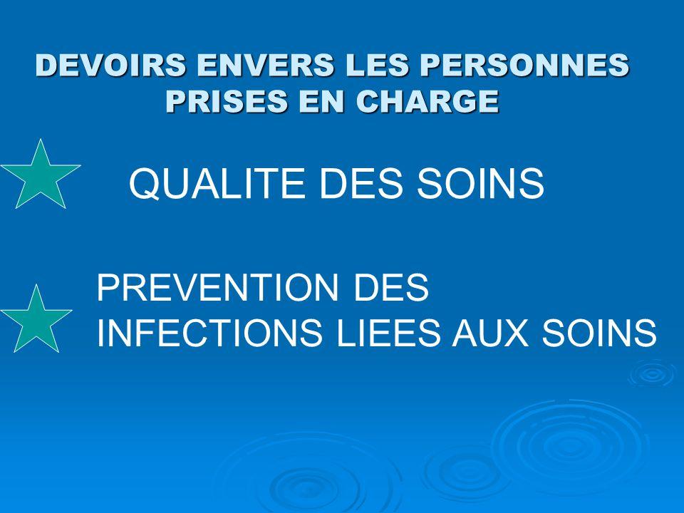 DEVOIRS ENVERS LES PERSONNES PRISES EN CHARGE QUALITE DES SOINS PREVENTION DES INFECTIONS LIEES AUX SOINS