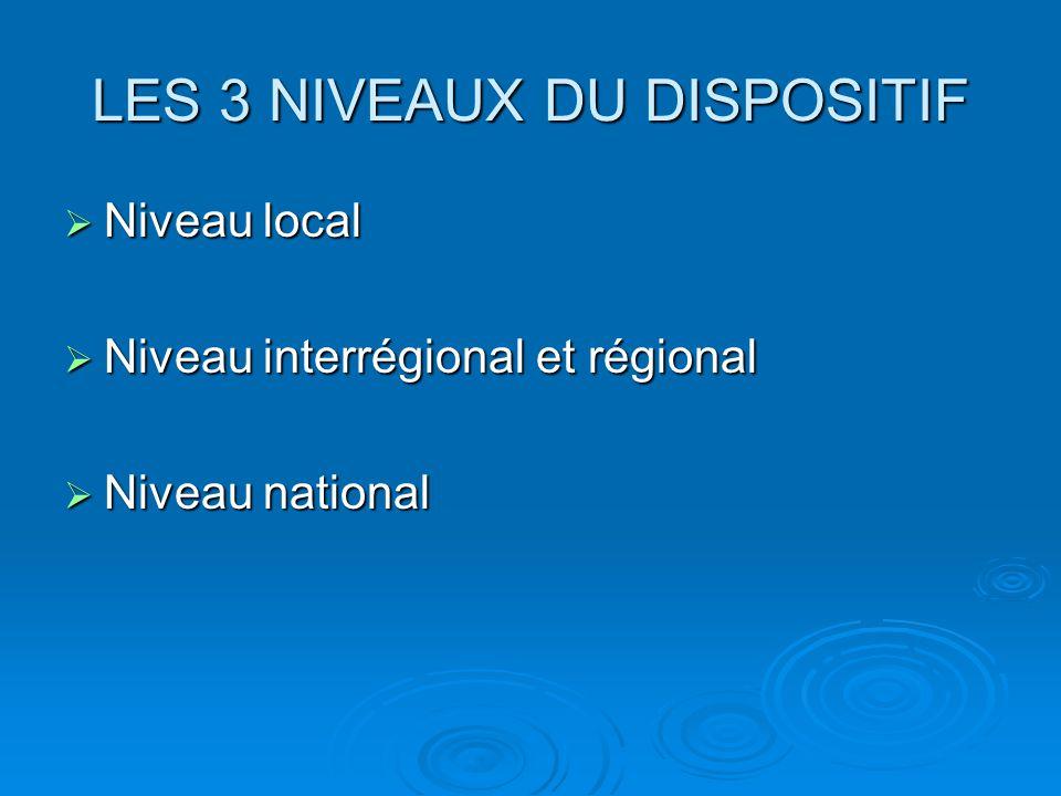 LES 3 NIVEAUX DU DISPOSITIF  Niveau local  Niveau interrégional et régional  Niveau national