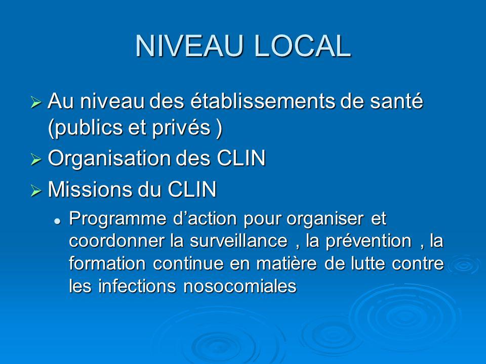 NIVEAU LOCAL  Composition du CLIN  Médecins  Pharmaciens  Infirmières  Directeurs  Autres professionnels de l'établissement  Représentants des usagers peuvent assister à certaines réunions
