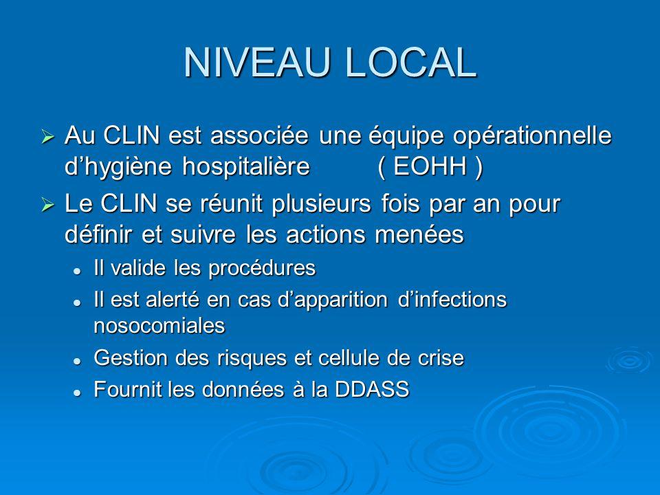 NIVEAU LOCAL  L'EOHH intervient parfois dans plusieurs établissements  Les référents (ou correspondants) en hygiène : 2 représentants par service* ayant un rôle de relai pour une meilleure appréciation du programme et le suivi des actions