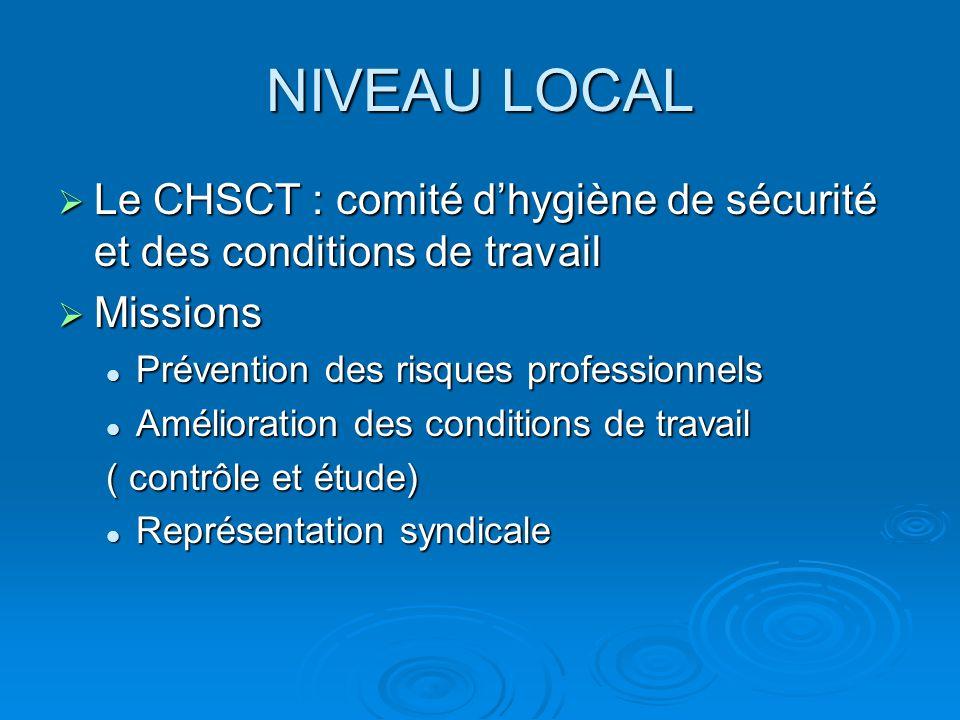 NIVEAU LOCAL  Le CHSCT : comité d'hygiène de sécurité et des conditions de travail  Missions Prévention des risques professionnels Prévention des ri