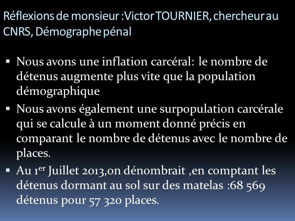 Réflexions de monsieur :Victor TOURNIER, chercheur au CNRS, Démographe pénal  Nous avons une inflation carcéral: le nombre de détenus augmente plus vite que la population démographique  Nous avons également une surpopulation carcérale qui se calcule à un moment donné précis en comparant le nombre de détenus avec le nombre de places.
