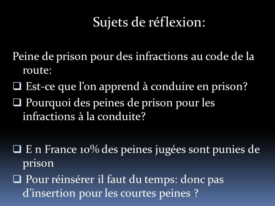 Sujets de réflexion: Peine de prison pour des infractions au code de la route:  Est-ce que l'on apprend à conduire en prison.
