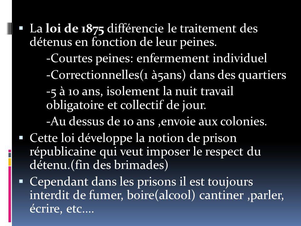  La loi de 1875 différencie le traitement des détenus en fonction de leur peines.