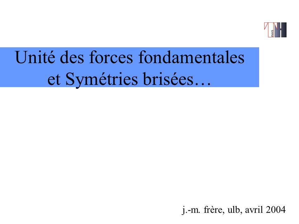 Unité des forces fondamentales et Symétries brisées… j.-m. frère, ulb, avril 2004