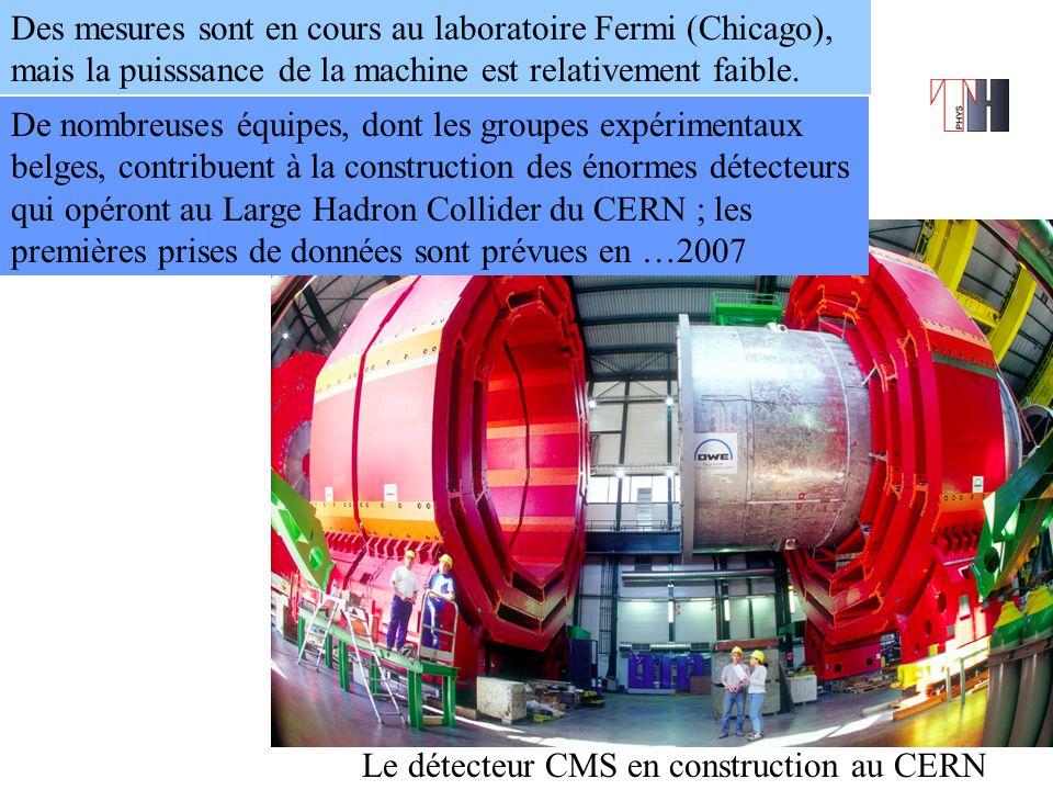 Le détecteur CMS en construction au CERN De nombreuses équipes, dont les groupes expérimentaux belges, contribuent à la construction des énormes détecteurs qui opéront au Large Hadron Collider du CERN ; les premières prises de données sont prévues en …2007 Des mesures sont en cours au laboratoire Fermi (Chicago), mais la puisssance de la machine est relativement faible.