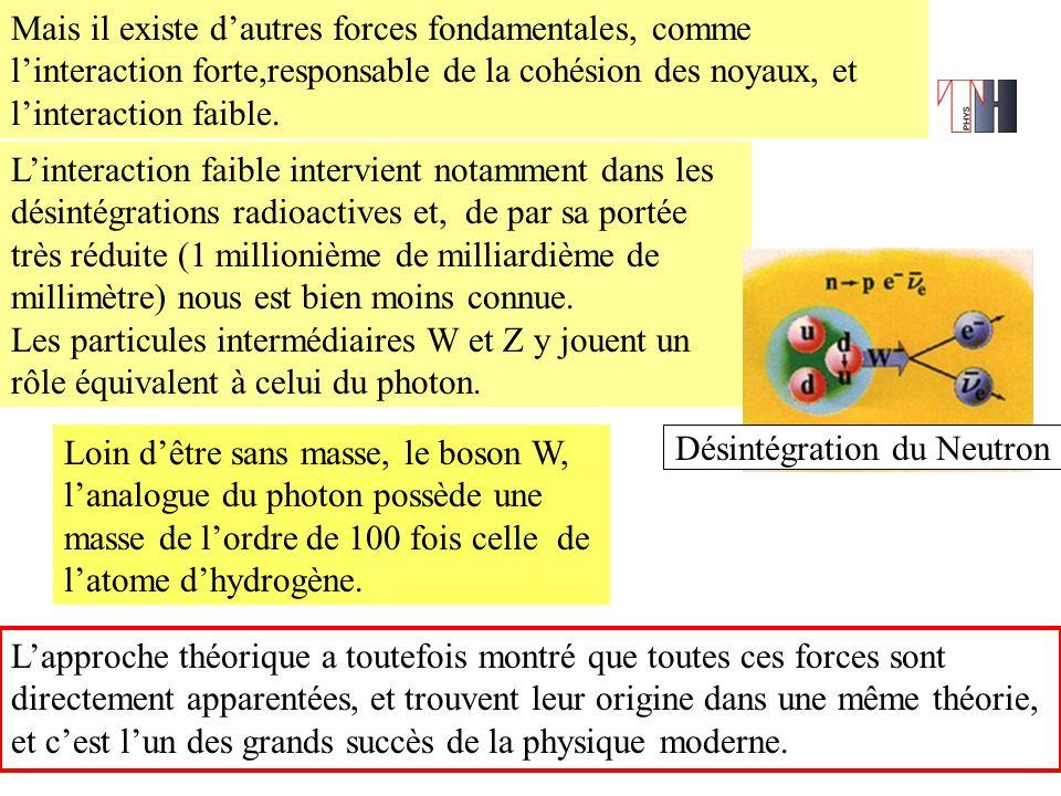 Mais il existe d'autres forces fondamentales, comme l'interaction forte,responsable de la cohésion des noyaux, et l'interaction faible.