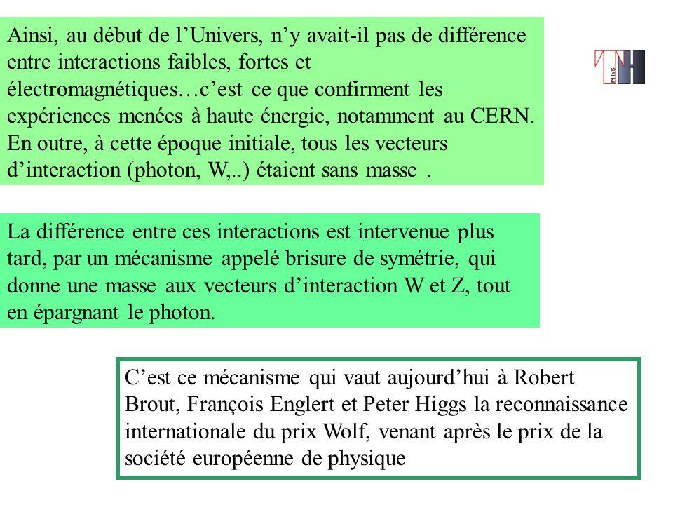 Ainsi, au début de l'Univers, n'y avait-il pas de différence entre interactions faibles, fortes et électromagnétiques…c'est ce que confirment les expériences menées à haute énergie, notamment au CERN.