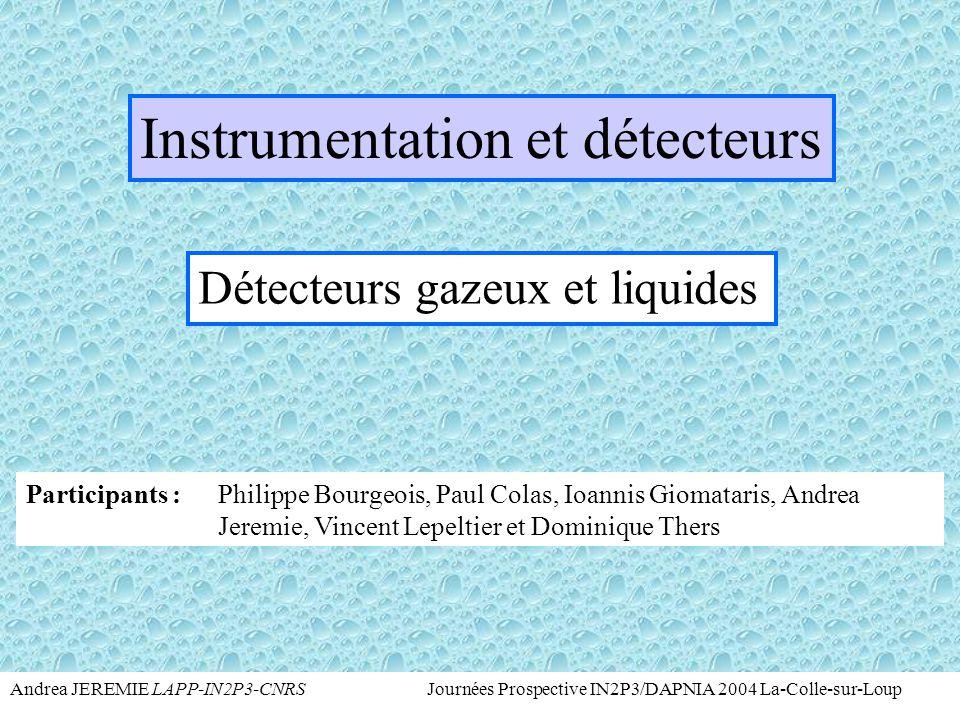Andrea JEREMIE LAPP-IN2P3-CNRS Journées Prospective IN2P3/DAPNIA 2004 La-Colle-sur-Loup Imagerie Autres développements Projets avec Biospace et GenHome dans le cadre du 6e PCRD pour l'imagerie  très haute résolution (  10  m) et prototype de grande surface 25x25cm 2 – Subatech de Nantes Développement d'une TEP (Tomographie à Émission de Positons) associant le détecteur PIM au Xe liquide utilisant le signal d'ionisation– Subatech de Nantes Développement d'une TEP au Xe liquide utilisant la scintillation– LPSC de Grenoble Développement d'une caméra Haute Résolution (ToHR) par émission monophotonique- IPNOrsay