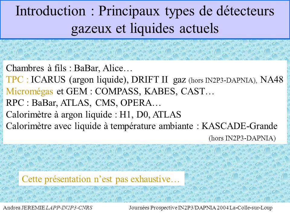 Andrea JEREMIE LAPP-IN2P3-CNRS Journées Prospective IN2P3/DAPNIA 2004 La-Colle-sur-Loup  et astroparticules Projets en discussion non présentés mais dans le texte: HELLAZ (TPC avec Hélium à température de l'azote liquide pour la détection de neutrinos solaires avec Micromégas fournie par DAPNIA) SUPERMUNU ( TPC avec microgrilles par LPSC)