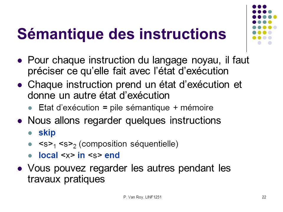 P. Van Roy, LINF125122 Sémantique des instructions Pour chaque instruction du langage noyau, il faut préciser ce qu'elle fait avec l'état d'exécution