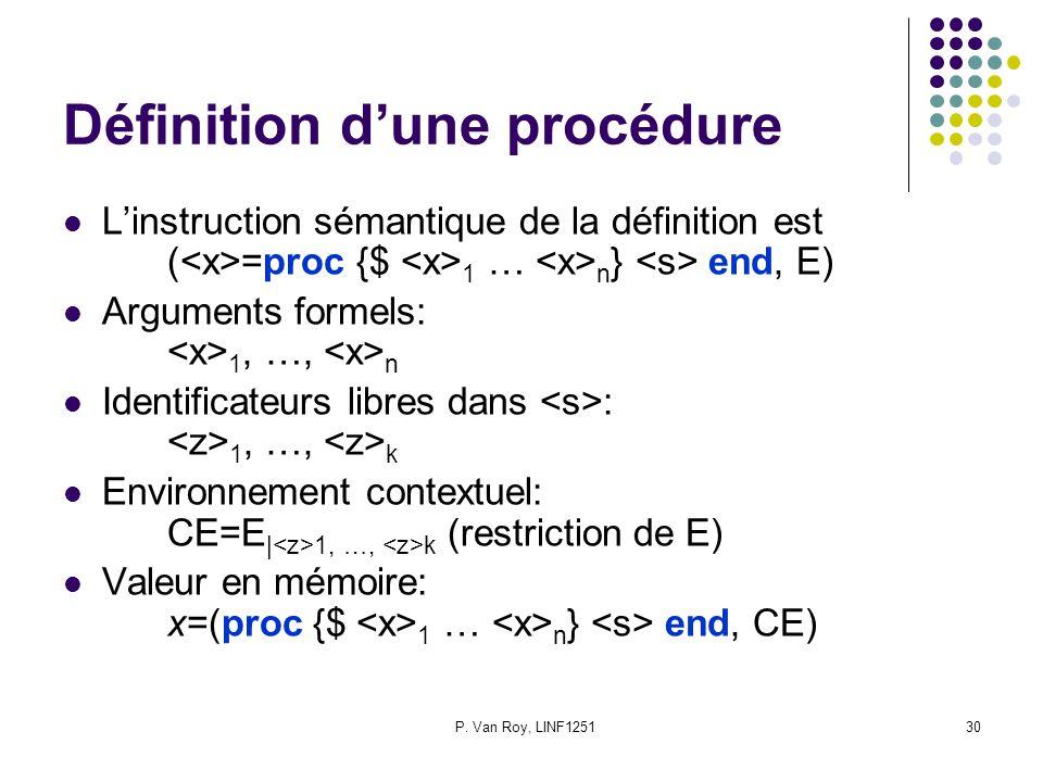 P. Van Roy, LINF125130 Définition d'une procédure L'instruction sémantique de la définition est ( =proc {$ 1 … n } end, E) Arguments formels: 1, …, n