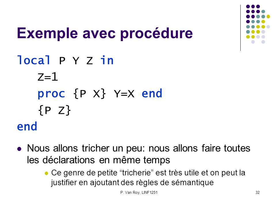 P. Van Roy, LINF125132 Exemple avec procédure local P Y Z in Z=1 proc {P X} Y=X end {P Z} end Nous allons tricher un peu: nous allons faire toutes les