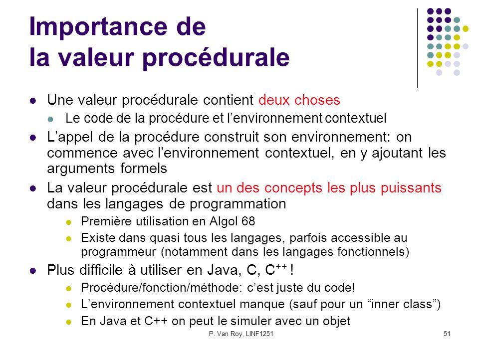 P. Van Roy, LINF125151 Importance de la valeur procédurale Une valeur procédurale contient deux choses Le code de la procédure et l'environnement cont