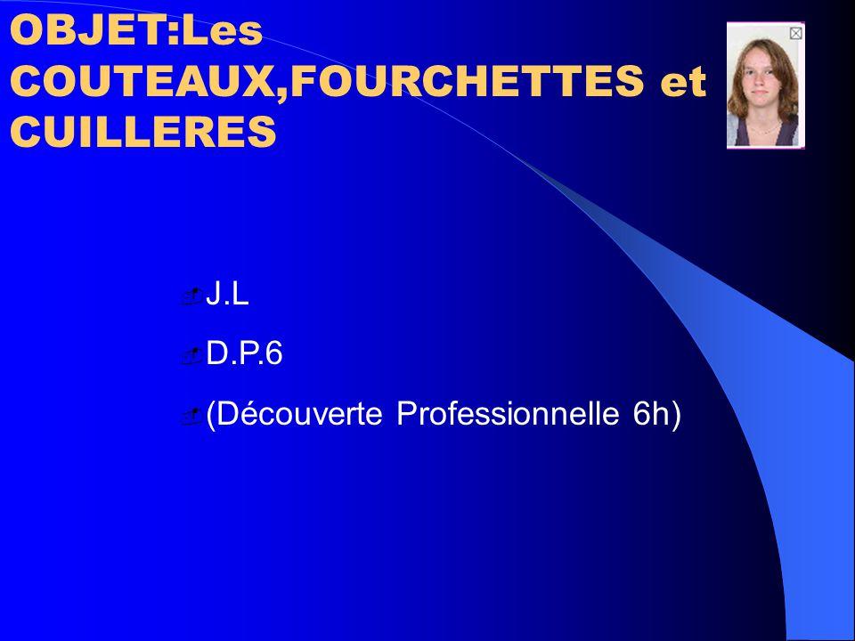 OBJET:Les COUTEAUX,FOURCHETTES et CUILLERES  J.L  D.P.6  (Découverte Professionnelle 6h)