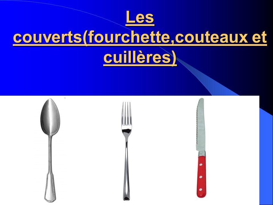 La fourchette Il y a plusieurs types de fourchettes: Fourchette de table Fourchette à salade Fourchette à poisson Fourchette à fondue Fourchette à huîtres Fourchette à crustacés Fourchette à escargots
