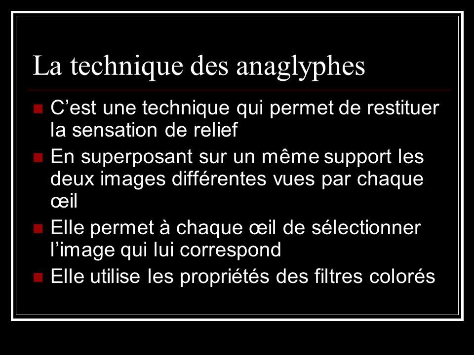La technique des anaglyphes C'est une technique qui permet de restituer la sensation de relief En superposant sur un même support les deux images diff
