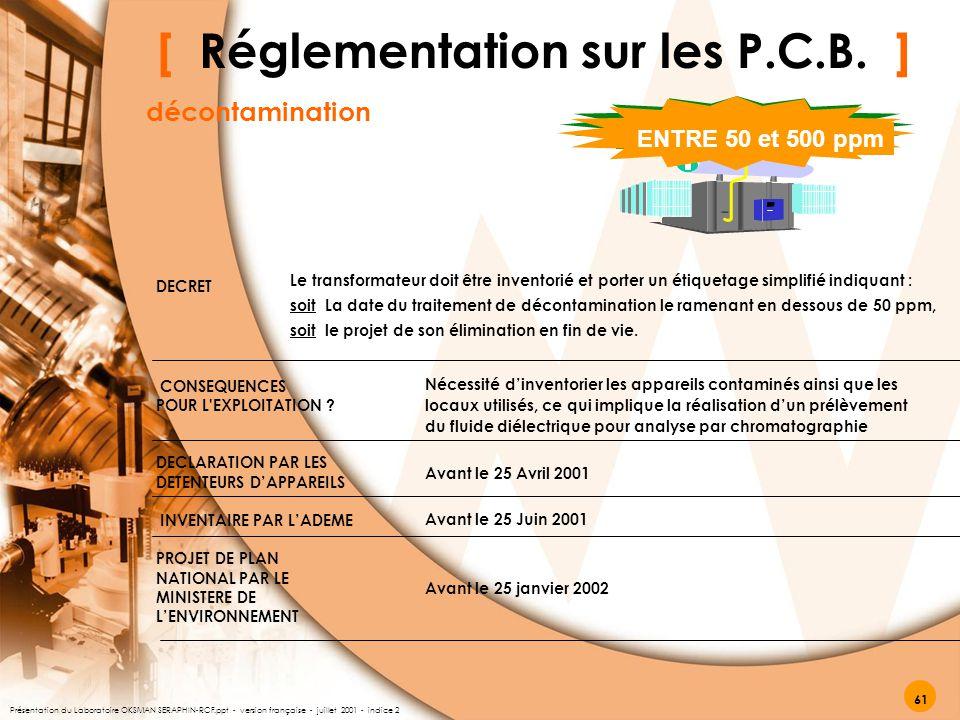 [ Réglementation sur les P.C.B. ] décontamination ENTRE 50 et 500 ppm DECRET CONSEQUENCES POUR L'EXPLOITATION ? DECLARATION PAR LES DETENTEURS D'APPAR