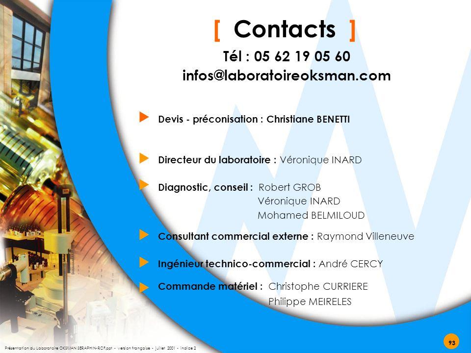 [ Contacts ] Ingénieur technico-commercial : André CERCY   Tél : 05 62 19 05 60 infos@laboratoireoksman.com Commande matériel : Christophe CURRIERE