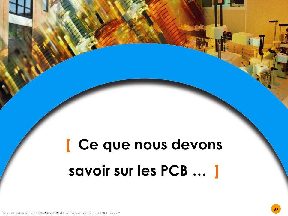 [ Ce que nous devons savoir sur les PCB … ] 53 Présentation du Laboratoire OKSMAN SERAPHIN-RCF.ppt - version française - juillet 2001 - indice 2