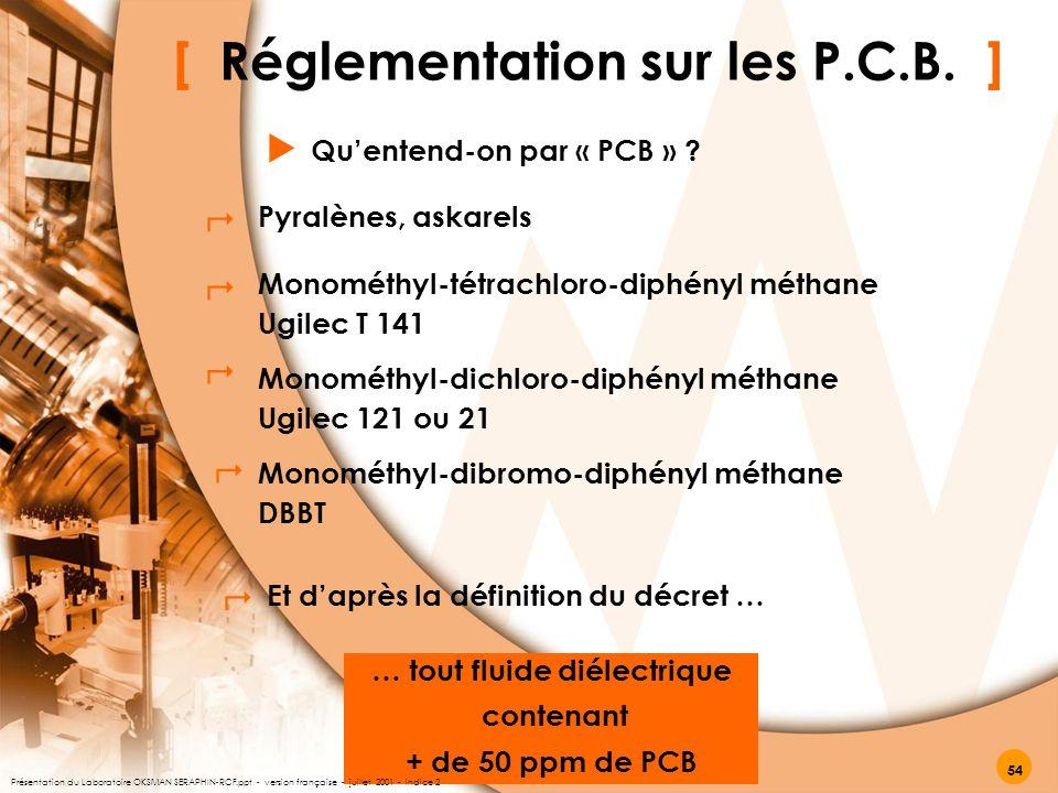 [ Réglementation sur les P.C.B. ] Qu'entend-on par « PCB » ?  … tout fluide diélectrique contenant + de 50 ppm de PCB Pyralènes, askarels Monométhyl-