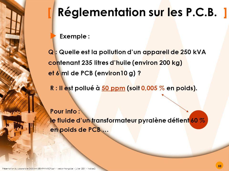 [ Réglementation sur les P.C.B. ] Exemple :  R : Il est pollué à 50 ppm (soit 0,005 % en poids). Q : Quelle est la pollution d'un appareil de 250 kVA