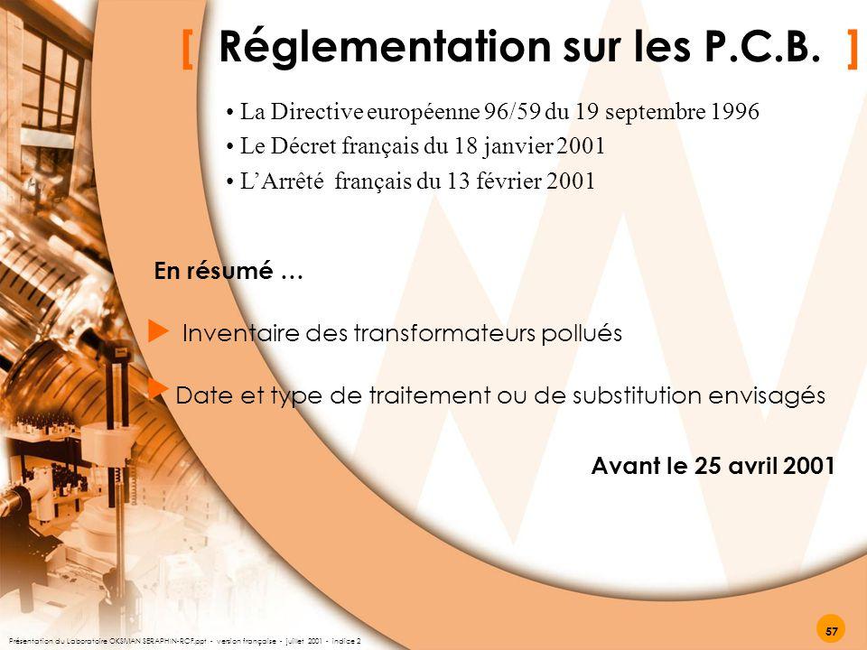 [ Réglementation sur les P.C.B. ]   En résumé … Inventaire des transformateurs pollués Date et type de traitement ou de substitution envisagés Avant