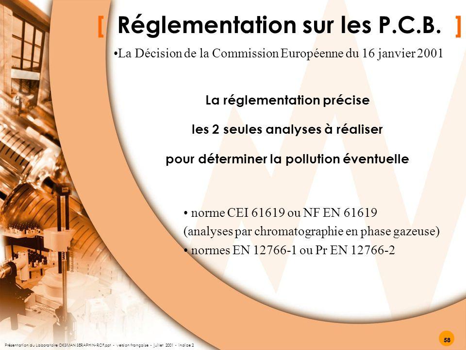 [ Réglementation sur les P.C.B. ] La réglementation précise les 2 seules analyses à réaliser pour déterminer la pollution éventuelle norme CEI 61619 o