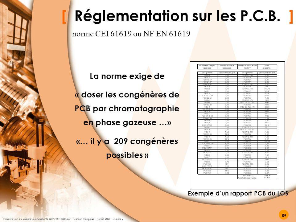 [ Réglementation sur les P.C.B. ] La norme exige de « doser les congénères de PCB par chromatographie en phase gazeuse …» «… il y a 209 congénères pos