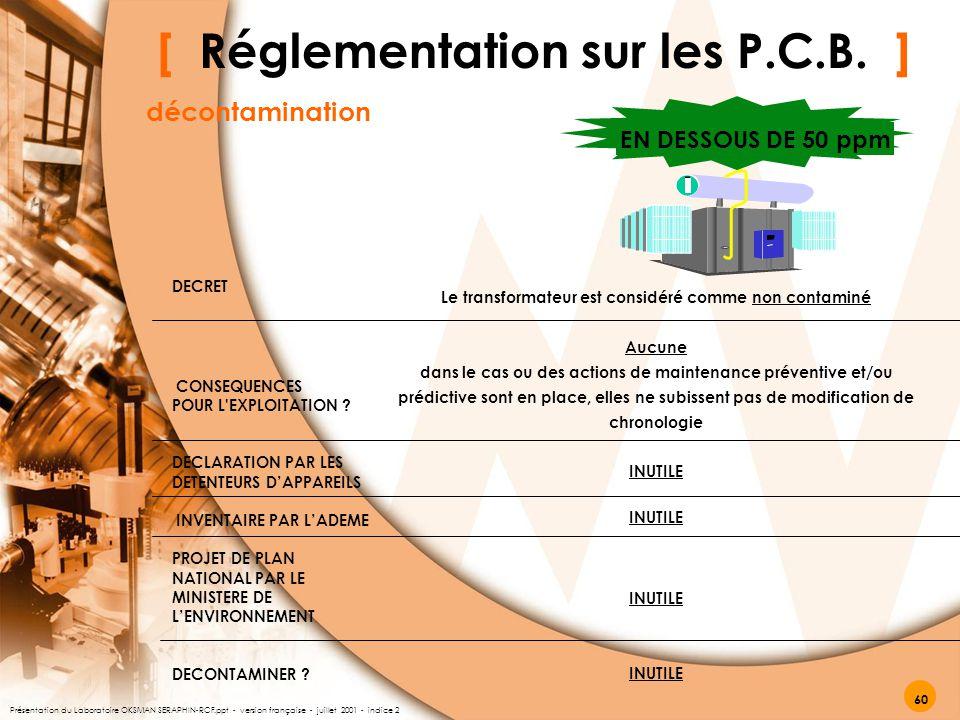 EN DESSOUS DE 50 ppm DECRET CONSEQUENCES POUR L'EXPLOITATION ? DECLARATION PAR LES DETENTEURS D'APPAREILS INVENTAIRE PAR L'ADEME PROJET DE PLAN NATION
