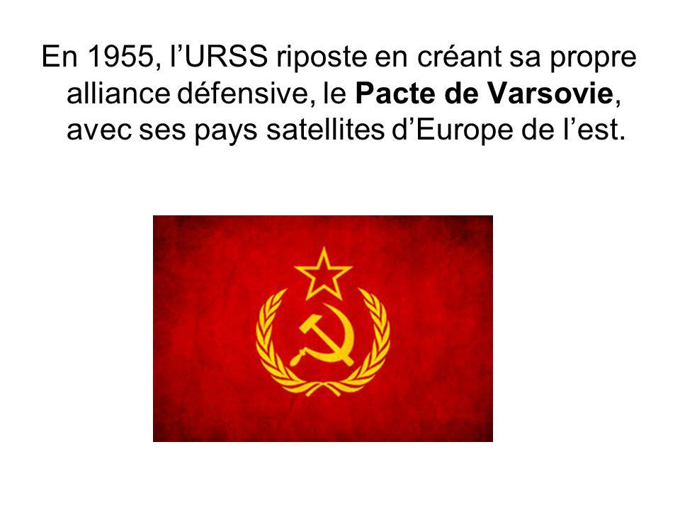 En 1955, l'URSS riposte en créant sa propre alliance défensive, le Pacte de Varsovie, avec ses pays satellites d'Europe de l'est.
