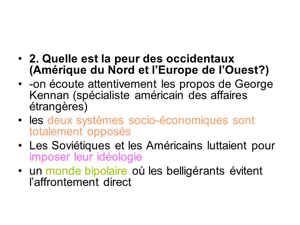 2. Quelle est la peur des occidentaux (Amérique du Nord et l'Europe de l'Ouest?) -on écoute attentivement les propos de George Kennan (spécialiste amé