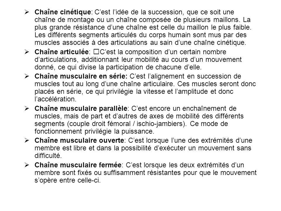  Chaîne cinétique: C'est l'idée de la succession, que ce soit une chaîne de montage ou un chaîne composée de plusieurs maillons. La plus grande résis