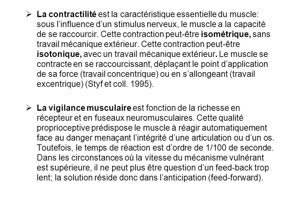  La contractilité est la caractéristique essentielle du muscle: sous l'influence d'un stimulus nerveux, le muscle a la capacité de se raccourcir. Cet