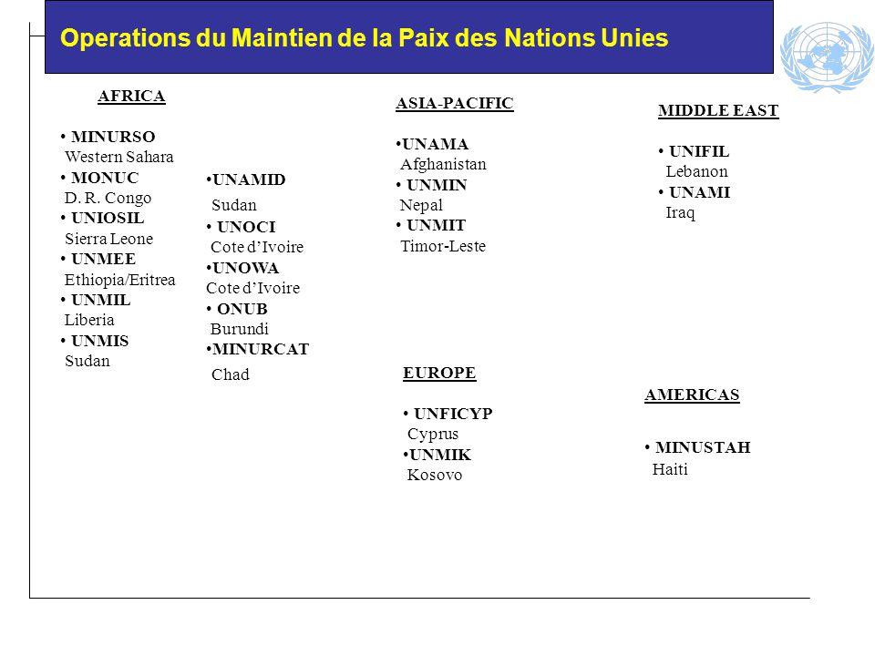 Operations du Maintien de la Paix des Nations Unies AFRICA MINURSO Western Sahara MONUC D.