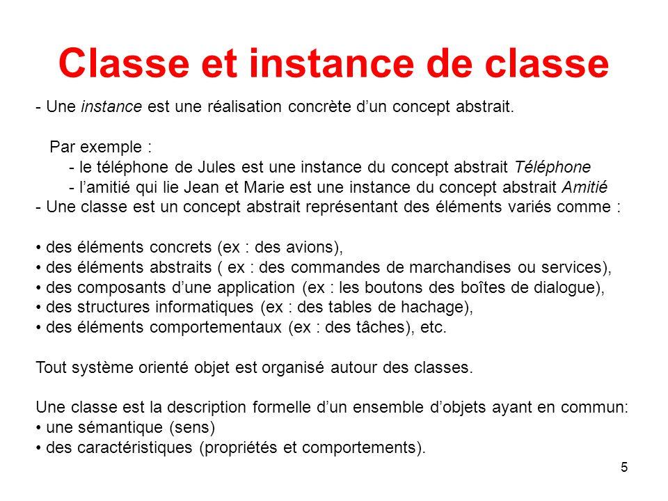 26 Notions de classe Classe et instance de classe Caractéristiques d'une classe Représentation graphique Encapsulation, visibilité, interface Nom d'une classe Les attributs Les opérations Classe active