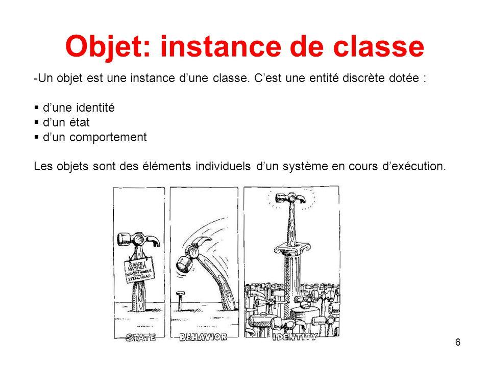 7 Notions de classe Classe et instance de classe Caractéristiques d'une classe Représentation graphique Encapsulation, visibilité, interface Nom d'une classe Les attributs Les opérations Classe active