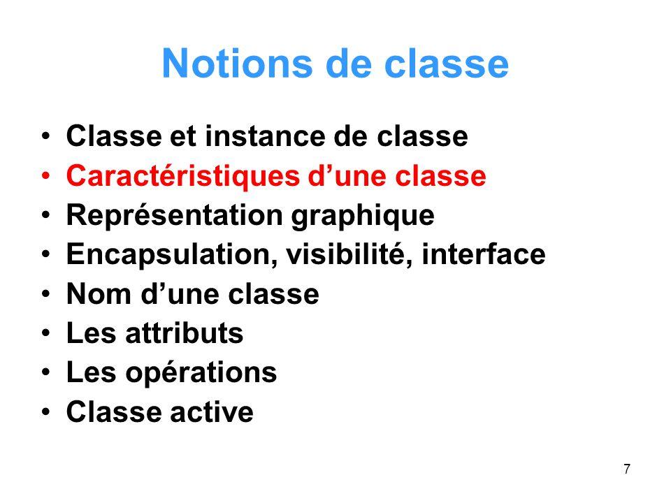 8 Caractéristiques d'une classe État d'un objet Comportement d'un objet