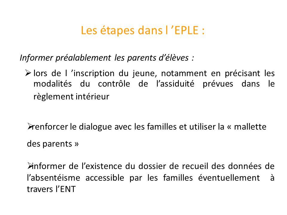 Les étapes dans l 'EPLE :  lors de l 'inscription du jeune, notamment en précisant les modalités du contrôle de l'assiduité prévues dans le règlement