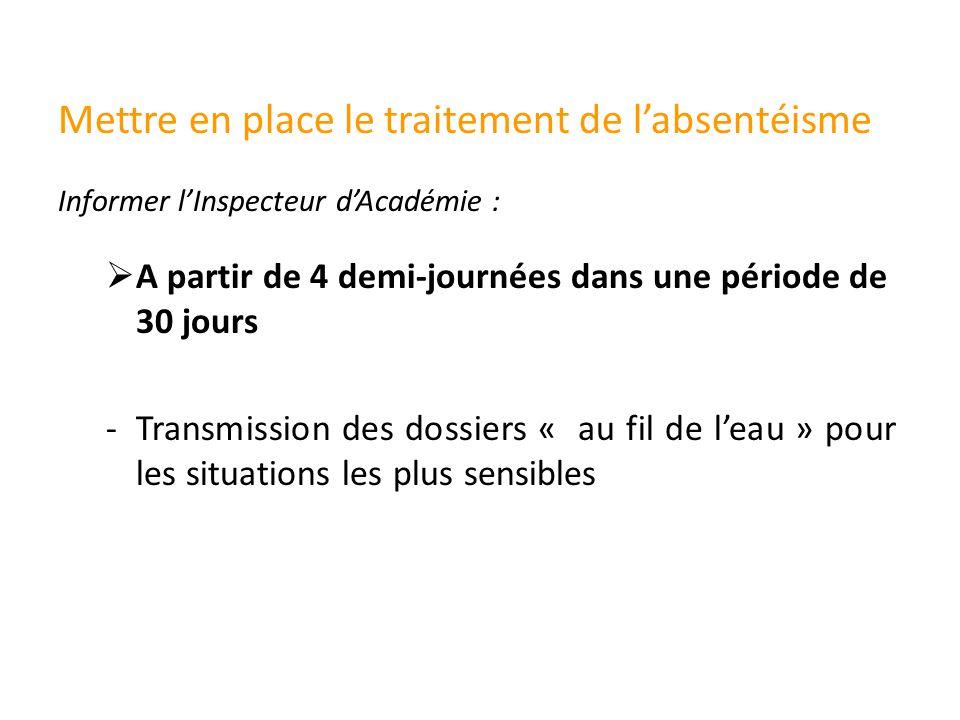 Mettre en place le traitement de l'absentéisme  A partir de 4 demi-journées dans une période de 30 jours -Transmission des dossiers « au fil de l'eau