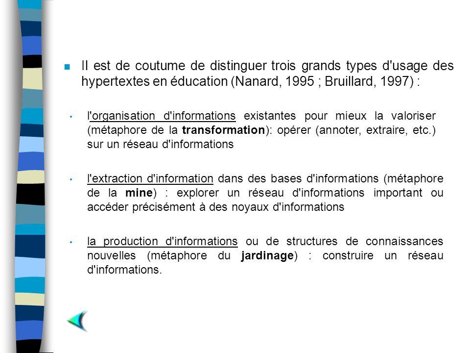 n Il est de coutume de distinguer trois grands types d'usage des hypertextes en éducation (Nanard, 1995 ; Bruillard, 1997) : l'extraction d'informatio