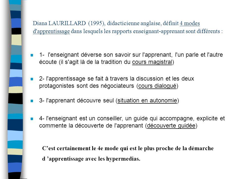 Diana LAURILLARD (1995), didacticienne anglaise, définit 4 modes d'apprentissage dans lesquels les rapports enseignant-apprenant sont différents : n 1