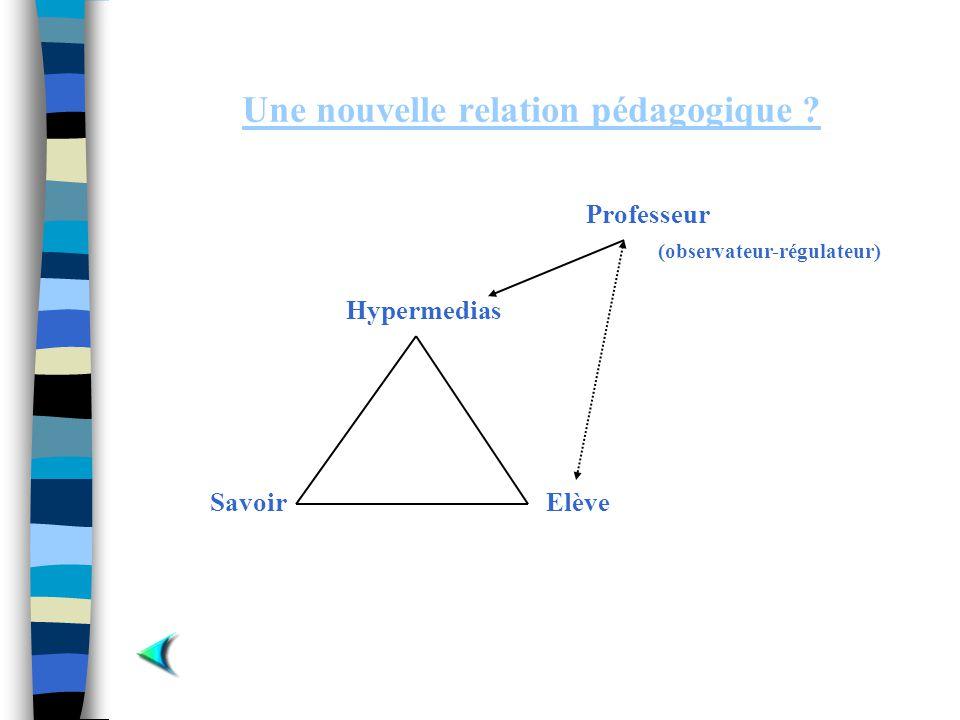 Une nouvelle relation pédagogique ? Elève Hypermedias Savoir Professeur (observateur-régulateur)