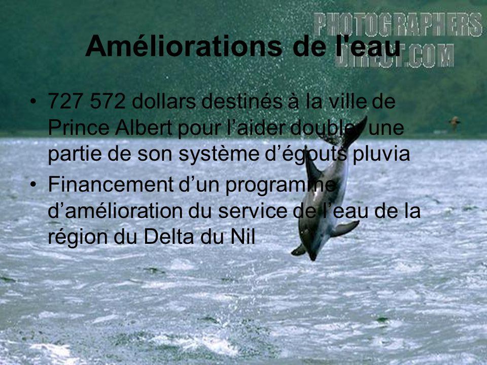 Améliorations de l eau 727 572 dollars destinés à la ville de Prince Albert pour l'aider doubler une partie de son système d'égouts pluvia Financement d'un programme d'amélioration du service de l'eau de la région du Delta du Nil