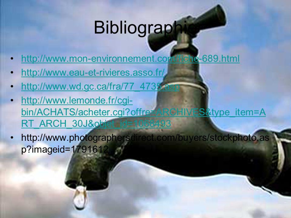 Bibliographie http://www.mon-environnement.com/fiche-689.html http://www.eau-et-rivieres.asso.fr/ http://www.wd.gc.ca/fra/77_4735.asp http://www.lemon